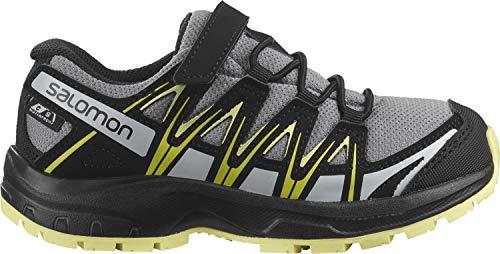 Salomon Kinder XA PRO 3D, Schuhe für Trail Running und Outdoor-Aktivitäten, ClimaSalomon Waterproof, Einfaches Schnürsystem Grau (Monument/Black/Charlock), 28 EU