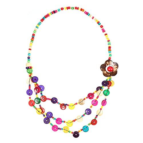 ABOOFAN Collar Bohemio Multicapa Estilo Bohemio Colgante Largo Collares de Cuentas de Concha de Collar de Cuentas de Madera Joyería Hecha a Mano para Mujeres Niñas