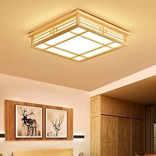 Orginal Wood LED Deckenleuchte Unterputz Japanische Deckenleuchte Kronleuchter Lampe Für Schlafzimmer Wohnzimmer Esszimmer Küche (Warm light) White Light