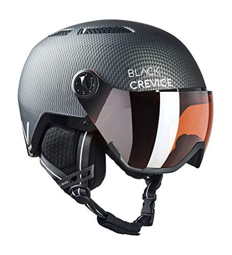 Black Crevice Chamonix Chamonix voor volwassenen, uniseks, met vizier, skihelm, mat zwart carbon/wit, maat M (55-58 cm)