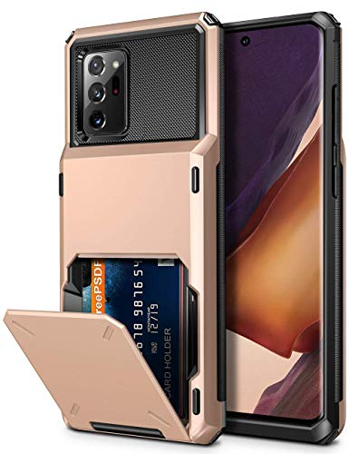 Vofolen for Galaxy Note 20 Ultra Case 5G Wallet 4-Card Flip Cover Credit Card Holder Slot Back Pocket Dual Layer Protective Hybrid Hard Shell Bumper Armor Case for Samsung Note 20 Ultra 6.9 Rose Gold