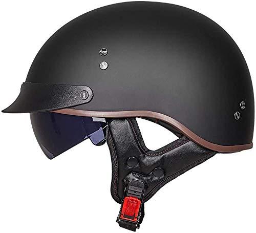 Motorradhelm, Retro-Harley-Motorradhalbhelm DOT/ECE-Zertifizierter Unisex-Jet-Helmhalbhelm Mit Offenem Helm, Cruiser-Chopper, Antikollisions-Schutzhelm (M=(57~58cm), A)