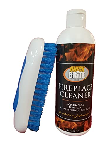 of cleaning fireplace stones Quick N Brite Fireplace Cleaner with Cleaning Brush for Brick, Stone, Tile, Rock, Soot, Smoke, Creosote, and Ash, 16 oz, 1-Pack