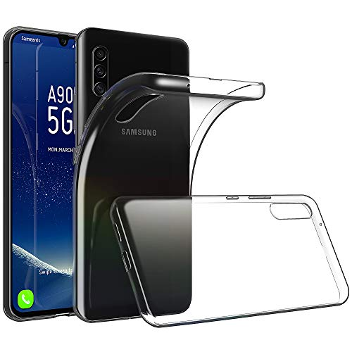 Sameants Samsung Galaxy A90 5G Hülle, Crystal Clear Silikon Schutzhüle für Samsung Galaxy A90 5G Hülle TPU Bumper Cover Hülle Transparent