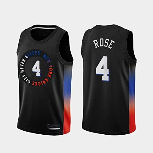 Jersey de Baloncesto de los Hombres, NBA New York Knicks # 4 Derrick Rose Classic Jersey, Tejido Fresco Transpirable, Fan de Baloncesto Unisex Sin Mangas Sports Chalt Top,Negro,M