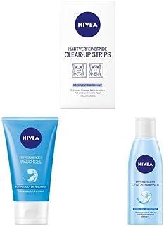 NIVEA Hautverfeinernde Clear-Up Strips, 6 Stück 4 x Nase  2 x Stirn , NIVEA Erfrischendes Waschgel, 1er Pack 1 x 150 ml, NIVEA Erfrischendes Gesichtswasser, 1er Pack 1 x 200 ml