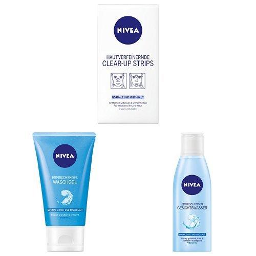 NIVEA Hautverfeinernde Clear-Up Strips, 6 Stück (4 x Nase + 2 x Stirn ), NIVEA Erfrischendes Waschgel, 1er Pack (1 x 150 ml), NIVEA Erfrischendes Gesichtswasser, 1er Pack (1 x 200 ml)