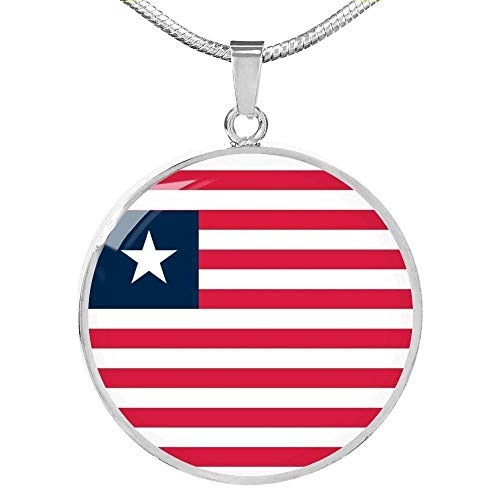 Express Your Love Gifts Liberia Bandera Collar Acero Inoxidable Oro 18k Gold 18-22'