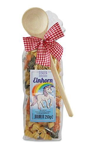 Pasta Präsent Einhorn mit bunten Einhornnudeln handgefertigt in deutscher Manufaktur