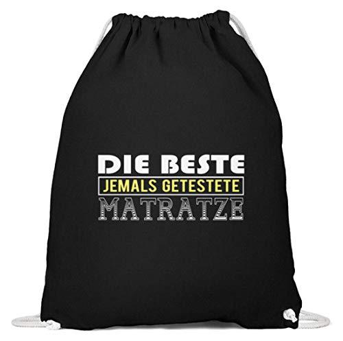 SPIRITSHIRTSHOP Die beste jemals getestete Matratze? - Baumwoll Gymsac -37cm-46cm-Schwarz