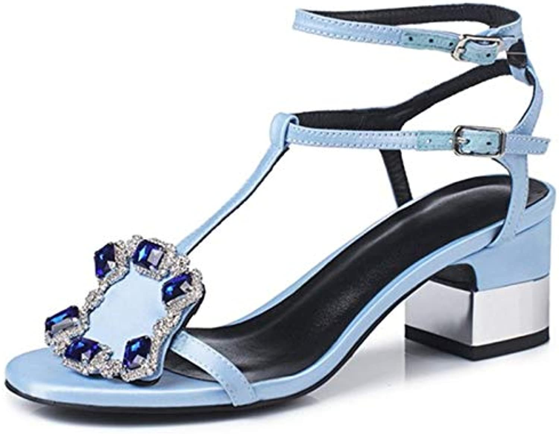LFDGGX Kristall Sommer Sandalen Schwarz Blau Mode Platz Ferse Seide Schnalle High Heels Peep Toe High Heels Sandalen Frauen
