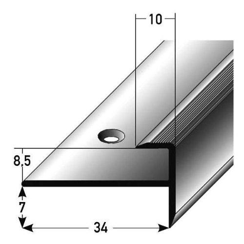 2 Meter (2 x 1 m) Einschubprofil, mit Nase für Laminat, 8,5 mm Einfasshöhe, Alu eloxiert, gebohrt