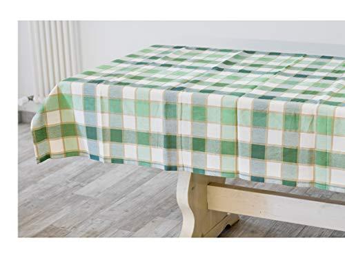 Mantel para mesa rectangular de algodón 100 %, medida 140 x 180 cm para 4/6 plazas, fantasía a cuadros blancos y verdes