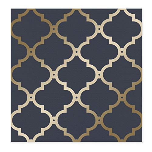 Mikrofaser-Abtropfmatte für Geschirr, Marokko-Spalier, marineblau, goldfarben, schnell trocknend, Abtropfmatte, hitzebeständig und rutschfest, für die Küche, 71,1 x 71,1 cm