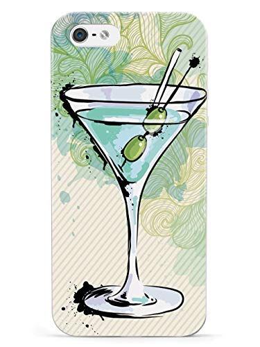 Inspired Cases - 3D Textured iPhone 5/5s/5SE Case - Rubber Bumper Cover - Protective Phone Case for Apple iPhone 5/5s/5SE - Watercolor Martini - White