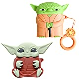 2 Pack Hülle for AirPod Pro/3 JPYH-Star Wars Stoßfeste Schutzhüllen, The Mandalorian Baby Yoda Weiche Hülle Cute Funny Cartoon Protective Hülle for Girls Boys The Woman Man