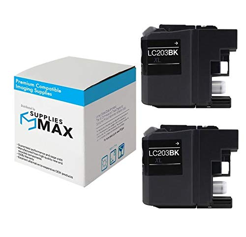 SuppliesMAX Compatible Replacement for Brother LC-203BK2PKS Black High Yield Inkjet (2/PK-550 Page Yield) -  SPB-BRTLC-203BK2PKS-C