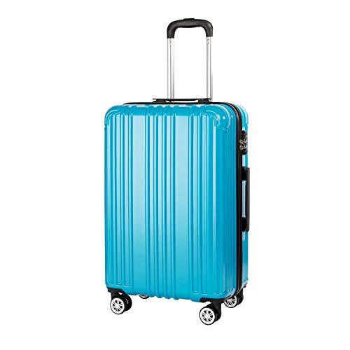COOLIFE Hartschalen-Koffer Rollkoffer Reisekoffer Vergrößerbares Gepäck (Nur Großer Koffer Erweiterbar) PC+ABS Material mit TSA-Schloss und 4 Rollen (Türkisblau, Mittelgroßer Koffer)
