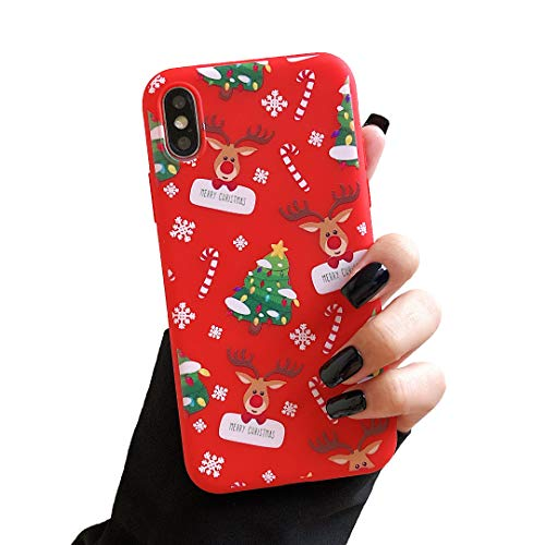 ZTOFERA Carcasa de TPU para iPhone XR, diseño de Navidad, suave de silicona, delgada, ligera, protección para iPhone XR, color rojo