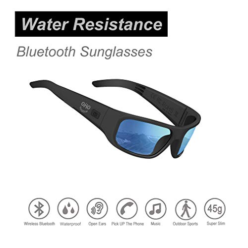 Water Resistance Audio Sunglasses,Open Ear Bluetooth Sunglasses to Listen Music and Make Phone Calls with Polarized UV400 Protection Safety Lenses,Unisex Sport Design for All Smart Phones