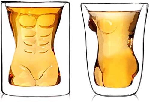 SOAR Botellero 2 PCS Cerveza Creativa Copa De Cristal Copa Sexy Creativa Forma Divertida Belleza Muscular Muscle Hombre Doble Pared Glasses Vino Whisky Vodka Disparo Vaso Valentine Regalo Pareja Taza