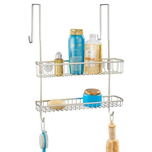 mDesign Duschkorb zum Hängen über die Duschtür – einfache Installation der Duschablage ohne Bohren – Metall Duschregal mit zwei Ebenen und Haken für ihr Duschzubehör - mattsilberfarben