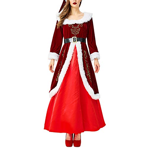 Libertepe Damen Kostüm Miss Santa Claus Verkleidung für Karneval Fasching Weihnachten Party Rot Kleider Weihnachtskleid mit Weihnachtsmütze und Gürtel