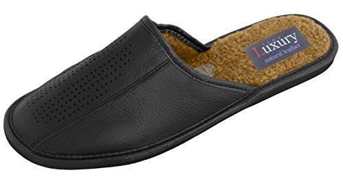 Herren Leder-Hausschuhe, mit orthopädischer Innensohle oder mit Wolle gefüttert, erhältlich 44 - Black (Wool Lining)