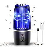 MGRETT Elektrischer Insektenvernichter, Insektenfalle Mückenlampe, Mückenfalle Elektrisch 2in 1 Umgebungslicht mit USB Wiederaufladbarer, UV-Licht Mückenkiller für InnenSchlafzimmer, Gärten