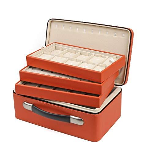 LXX Soportes Grandes Joyas de la Caja Portable Organizador - Display Titular Caso de Almacenamiento de joyería de Tres Capas for el Collar, aretes Pulseras Anillos de Orange Cajas