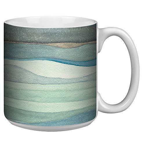 Tree-Free Greetings Extra Large 20-Ounce Ceramic Coffee Mug, Watercolor Waves Themed Shell Rummel Art