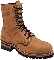 """AdTec 9"""" Super Logger Steel Toe Boots for Men, Leather Goodyear Welt Construction & Utility Footwear, Durable and Long..."""