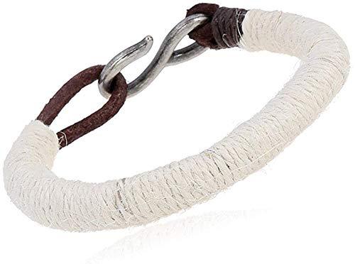 Gymqian Pulsera Trenzada de Cuerda de Cáñamo Retro Pulsera de Cuero de Joyería de Hombre Simple Y Versátil-Beige Exquisito/Marrón