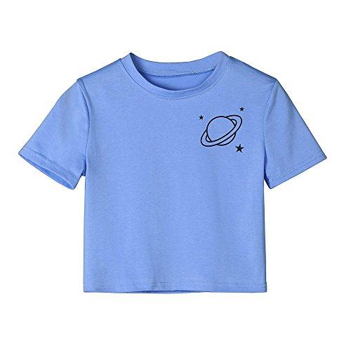 Weant Damen Sommer Bauchfrei T-Shirt, Mädchen Teenager Mode Kurzarm O Neck Planet Gestreift Shirts Casual Crop Tunika Oberteile Shirt Bluse Tops