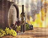 GOCHAN Kit de pintura de diamante 5D DIY,Botella de vino blanco tinto y uvas de alcohol de vidrio en madera Bodegón,Pintura de diamante para decoración de pared del hogar Arte 30x40cm