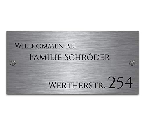 Namensschild Hausnummer mit Gravur aus Edelstahl Türschild mit Namen (ab 8x5 cm)