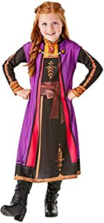 Rubies- Official Anna Frozen Printed Long Sleeve Dress in Black and Purple with Rubie's Design - 2 Sizes