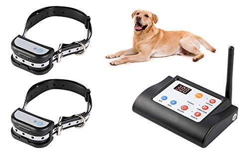 Kacsoo Wireless Dog Fence with 2 Training Collars Operating in 1 Remote, Dog Fence Containment System with Rechargeable, Adjustable, Indoor& Outdoor Waterproof Stable Signal, Control 3 Dogs Meanwhile