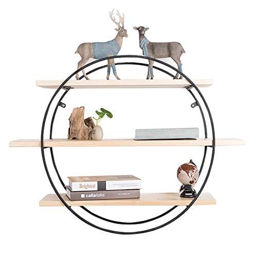 Étagère murale ronde bois et supports en métal noir étagère suspendue étagère de cube pour la chambre comme étagère de rangement Rack décoration murale Design Vintage style industriel