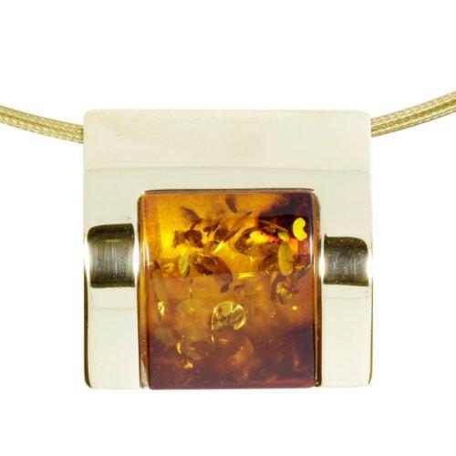 InCollections Damen-Anhänger 333/000 Gold mit Bernstein am 5-fach Nylonband 45 cm mit Goldverschluß 541A103476L100