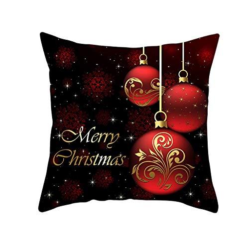 phjyjyeu Housse de coussin carrée de Noël en coton et lin - Décoration d'intérieur pour canapé, lit, chaise, chambre à coucher, voiture, renne, flocon de neige - 45,7 x 45,7 cm