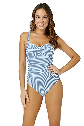 Nip Tuck Swim Stripe Twist Front Design Tummy Control One Piece Swimsuit (12) Sapphire