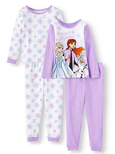 Disney Frozen Anna and Elsa Toddler Girl's Cotton Pajama Set (Lavender, 5T)