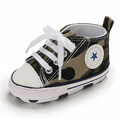 Baby Shoes Boy Girl Star Solid Sneaker Cotton Soft Anti-Slip Sole Newborn Infant First Walkers Toddler Casual Canvas Crib Shoes Comfortable (Baby Age : 13-18 Months, Color : Camouflage)