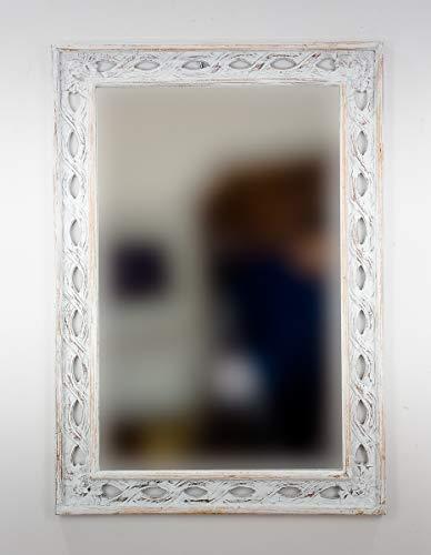 Espejo Decorativo de Madera Tali Bolong de 100x70 en Blanco decapado