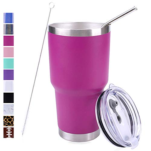 PUTING Stainless Steel Double Wall Vacuum Insulated Tumbler 30 oz For Home, Office, School, Travelling Gift Set (Fuchsia)
