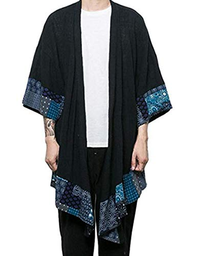 COOFANDY Men's Cardigan Lightweight Cotton Sweater Kimono Style Cloak Open Front Cape, Black, Large