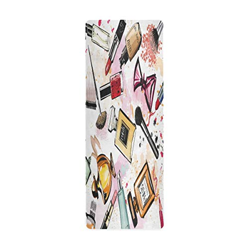 MNSRUU Cosmetics Pintalabios acuarela Fashion Travel Yoga Mat con bolsa de 66 x 180 cm antideslizante de goma plegable para yoga, pilates, mujeres, ejercicio en el hogar