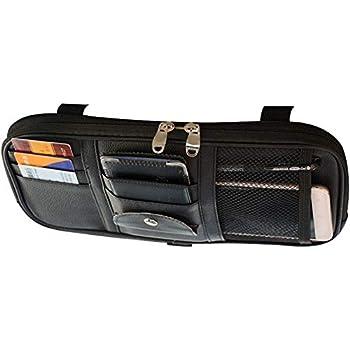 車用 サンバイザーポケット フルサイズ インナーポケット付き サンバイザーケース 収納ホルダー スマホ サングラス カード ケーブル イヤホン 駐車券 ペン メガネ 領収証 小物入れ (ブラック)