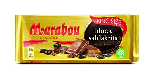 Marabou black saltlakrits Schokolade 4 x 220 g – zartschmelzende Milchschokolade mit Stückchen aus Salz Lakritze – einzigartige schwedische Süßigkeit – Salzlakritz
